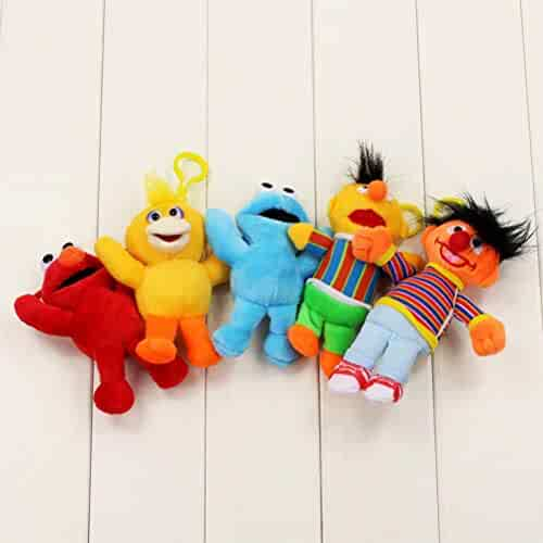 5cff313f45c625 LQT Ltd 5pcs/Set Top Stuffed Animal Sesame Street Elmo Cookie Big Bird  Ernie Bert