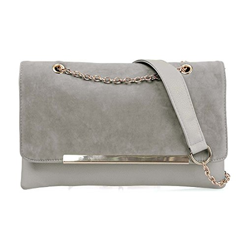 BMC Fashionably Chic Gray Beige Faux Suede Leather Gold Metal Chain Large Envelope Clutch (Suede Leather Purse)