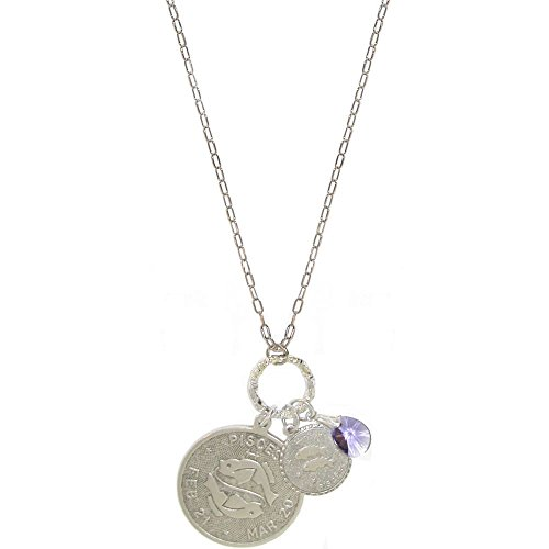 - GIRLPROPS Mystical Sun Sign Horoscope Zodiac Pendants Necklace with Swarovski Crystal, Usa, Pisces/February Birthstone in Pewter with Antique Finish
