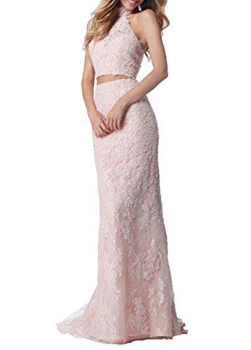 Abschlussballkleider Promkleider teilig Zwei Partykleider Meerjungfrau Abendkleider Spitze Rosa Kleider Blau Charmant Damen aSqxFwBZY