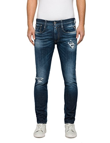 Produttore Anbass Zip W36 l32 destroyed mid Uomo Jeans Back Blu 9 Blue Replay Slim 36 taglia 1FBATq6Fp