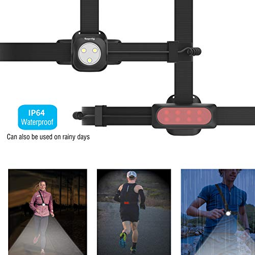 Suptig Running Light, Chest Light, Running Belt Light for Camping, Hiking, Running, Jogging, Walking, Outdoor Adventure IP64 Waterproof Built-in 2600mAh Rechargeable Lithium Battery(Black)