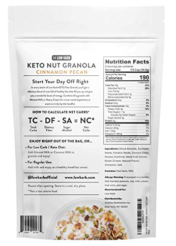 Low Karb - Keto Nut Granola Healthy Breakfast Cereal - Low Carb Snacks & Food - 2g Net Carbs - Almonds, Pecans, Coconut and more (11 oz) (1 Count) (1 Count)