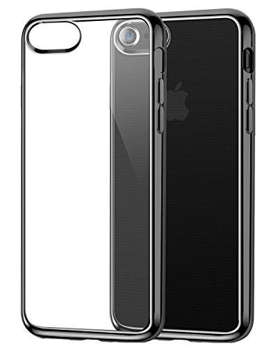 即席削る光のiPhone 8 ケース/iPhone 7 ケース/iPhone X【高品質TPU/透明/ 防指紋/メッキ加工】薄型 ソフト 防塵 人気 オシャレ 耐衝撃カバー (iPhone 8 / iPhone 7, ブラック)