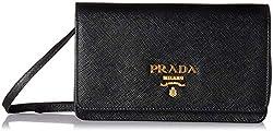 Prada Women S Saffiano Wallet 1bp007toonzvf0002 Black One Size