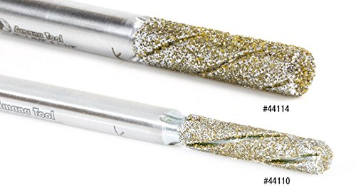 variant image of Amana Tool 44112 Diamond Grit 1/4 Dia x 1-3/8 Cut Length x 1/4 Inch Shank, 3 Flute Down-Cut Alloy Steel End Mill Coated with Electro Plated Diamonds