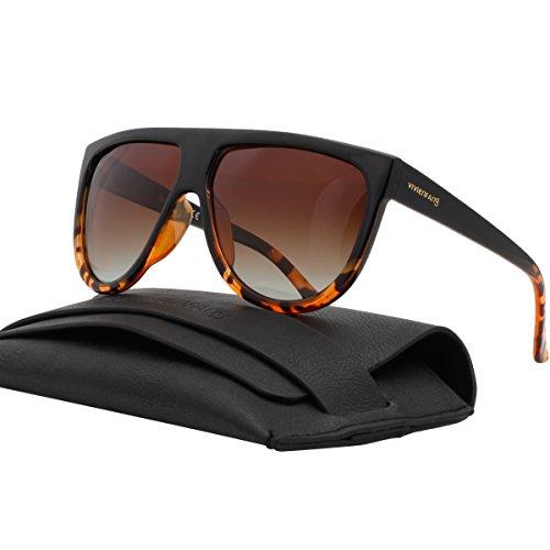 VIVIENFANG Women Classic Flat Top Aviator Polarized Sunglasses Designer Ombre Boyfriend Shades P1835B Black and Demi (Celine Fashion House)