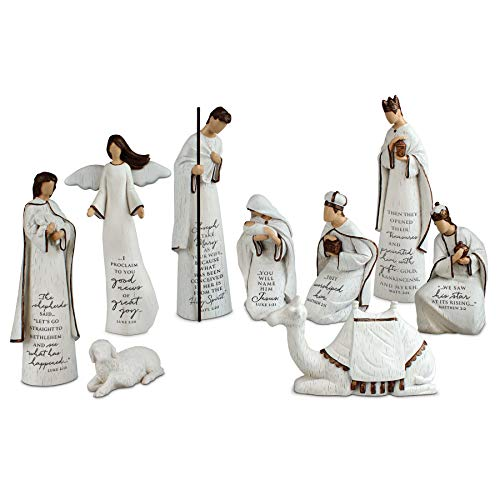 Lighthouse Christian Products A Savior Is Born 9 Piece 7.25 Inch Resin Scriptured Nativity Set