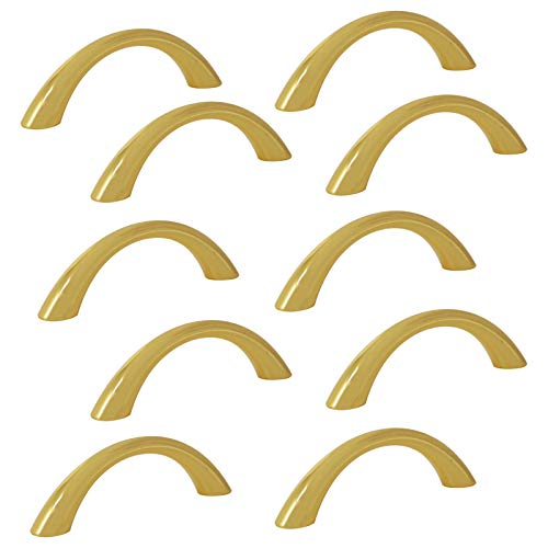 Polished Cabinet Brass - 10pcs Arch Bow Handle Pull 64mm 2 1/2in Hole Spacing Polished Brass (Gold) Cabinet Pulls Modern Kitchen Hardware Solid Drawer Pull Knobs