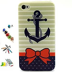 YULIN Blue Anchor Pattern TPU Material with Stylus Anti-Dust Plug and Stand Portfolio for iPhone 4/4S