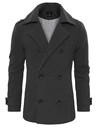 Tom's Ware Men's Stylish Wool Blend Double Breasted Pea Coat TWCC10-CHARCOAL-US M