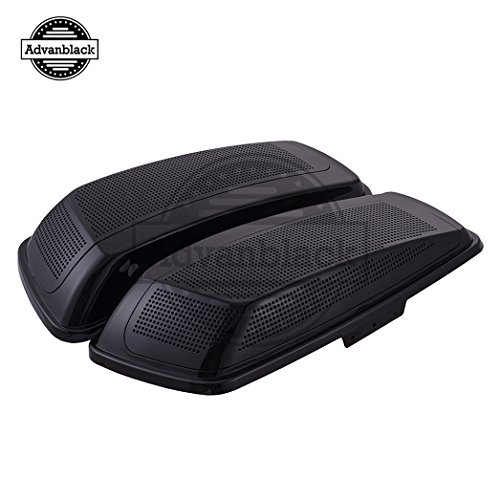 Us Stock Advanblack Vivid/Glossy Black Dual 6x9 Inch Saddlebag Speaker Lids Fit for 2014+ Harley Hard Saddlebags/Advanblack Stretched Bags