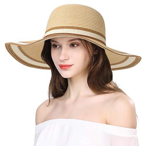Comhats Packable UPF Straw Sunhat Women Summer Beach Wide Brim Fedora Travel Hat
