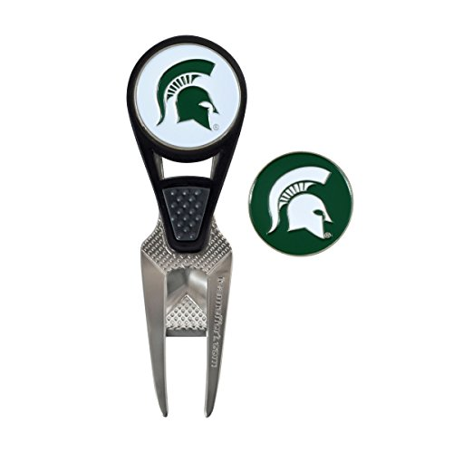 [Michigan State Spartans CVX Golf Ball Mark Repair Tool and 2 Ball Markers] (Spartan Mark)