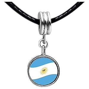 Chicforest Silver Plated Argentina Flag Photo Topaz Crystal November Birthstone Flower dangle Charm Beads Fits Pandora Charm Bracelet
