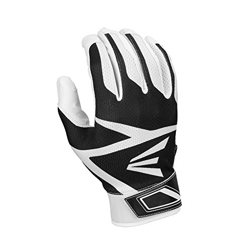 (Easton Z3 Hyperskin Batting Gloves, White/Black, Large)