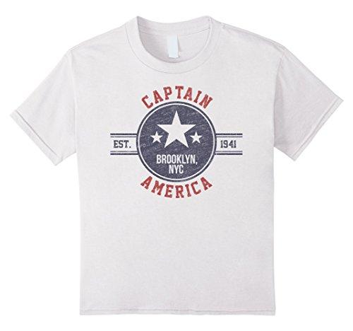 Kids Marvel Captain America Vintage Est. 1941 Star Badge T-Shirt 6 White