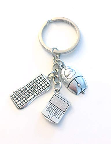 Computer Keychain, Laptop Gift for Techie, Computer Technician Key Chain, Tech Present, Daughter, Son, Grandson, Granddaughter, Niece, College, University, High School, Junior, Mouse Keyboard Mice