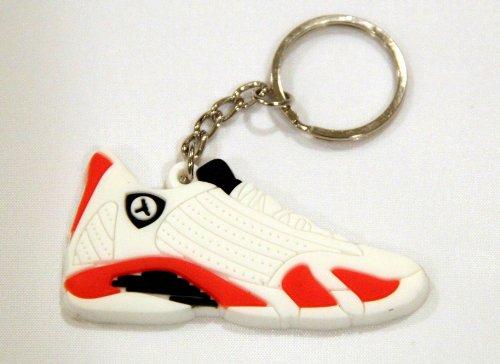 Air-Jordan-14-XIV-AJ14-Retro-White-Varsity-Red-Key-Chain-Ring-Keychain-PP