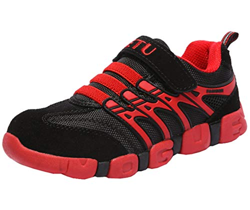 Strap Boys Black - DADAWEN Boy's Girl's Athletic Strap Breathable Running Shoes Casual Sneakers (Toddler/Little Kid/Big Kid) Black/Red US Size 12 M Little Kid/EU Size 31