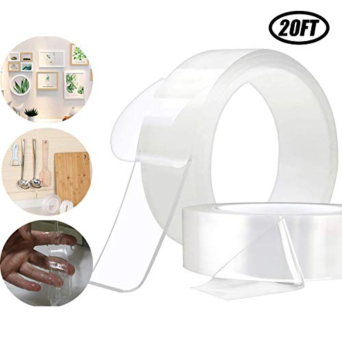 Double Sided Adhesive Tape, Transparent Strong Adhesive Traceless Removable Washable and Reusable Anti Slip Tape for Home, Wall, Room, Paste photos and posters, fix carpet mats, Paste items etc (20Ft) ()