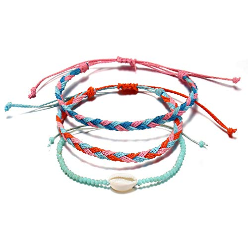 Qimoshi Braided Rope Bracelet Waterproof String Ocean Surfer Bracelet Beaded Boho Turquoise Sunflower Shell Wave Charm ()