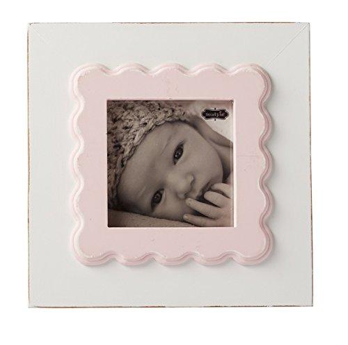 Mud Pie Scalloped Edge Baby Nursery Wood Frame, White/Pink, 5'' x 5''