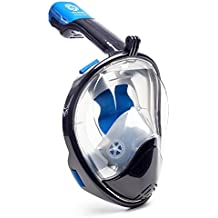 WildHorn Outfitters Seaview 180° GoPro Compatible Snorkel Mask- Panoramic Full Face Design. See More Larger Viewing Area Than Traditional Masks. Prevents Gag Reflex Tubeless Design