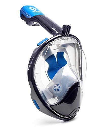 WildHorn Outfitters Seaview 180 Degree Panoramic Snorkel Mask- Full Face Design,Panoramic Navy Blue/Gray,Large/Extra Large