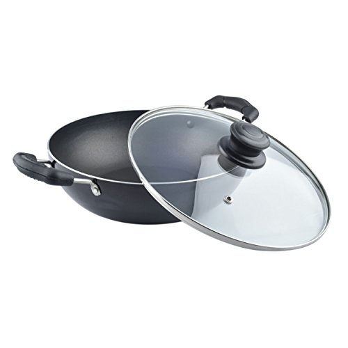 NIRLON Induction Non-Stick Cookware Deep Kadhai with Glass Lid, Black (Aluminium,Bakelite,Glass) (Induction & Gas Compatible)