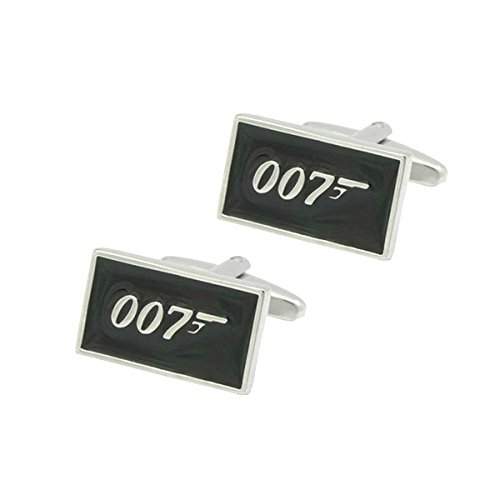Main Street 24/7 James Bond 007 Silvertone/Black Enamel Metal Cufflinks