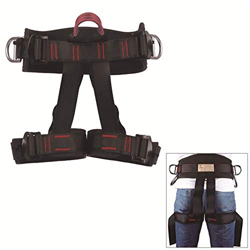 (HaoFst Half Body Climbing Harness Belt for Fire Rescue High Altitude School Assignment Caving Rock Climbing Rappelling Equipment Body Guard Protect)