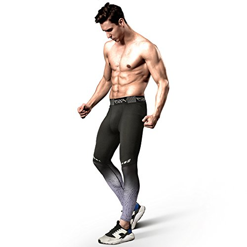 Gerlobal Men's Compression Tights Advanced Compression & Muscle Recovery Leggings For Training,Running & Athletics Grey,Medium (Running Tights Colorful)
