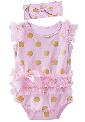 COSLAND Infant Gold Dots Pink Bodysuits for Baby Girls (Dot Pink, 3-6 Months) ()