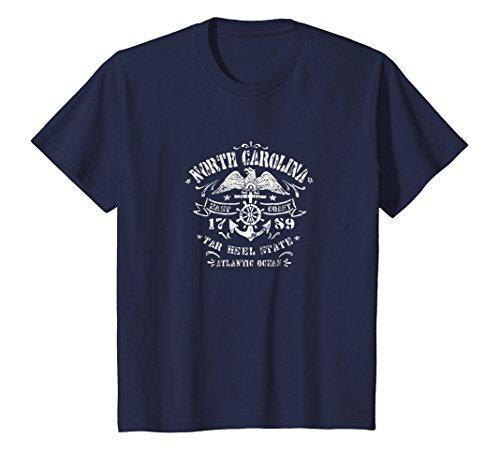 Navy Sailor Short Anchor (Kids North Carolina NC T-Shirt Vintage Boat Anchor Sailor Tee 12 Navy)