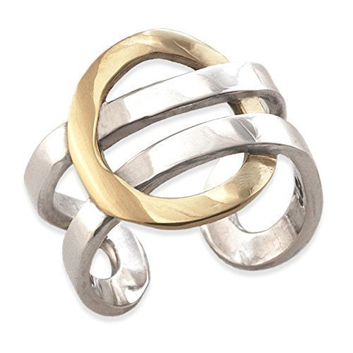 Solid 9ct Gold Circle & Sterling Silver Torque Ring Amazon