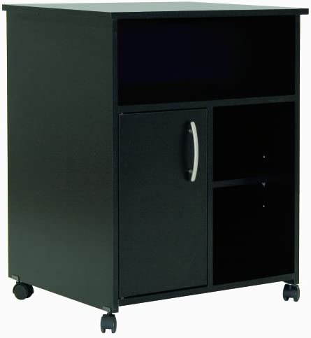 South Shore Black 1-Door Printer Stand with Storage on Wheels, Pure