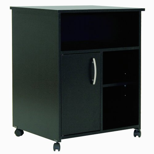 South Shore 1-Door Printer Stand with Storage on Wheels, Pure Black