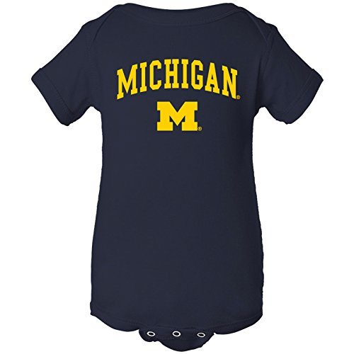 - YC03 - Michigan Wolverines Arch Logo Creeper Infant Creeper Bodysuit - Newborn - Navy