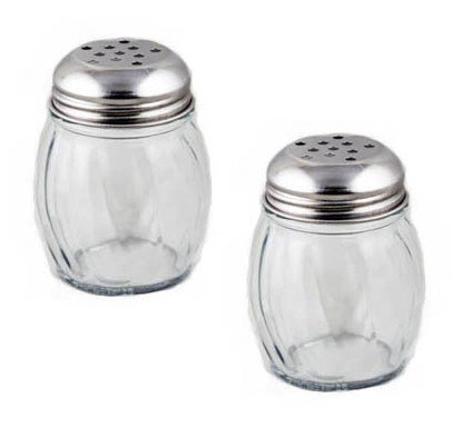 NEW, 6 oz. (Ounce) Swirl Glass Cheese Shaker, Pepper Spice Shaker w/ Perforated Stainless Steel Lid - Set of 12