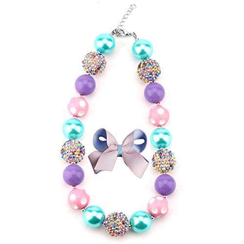 HABILY Chunky Bubblegum Necklace Colorful Fashion Beads and Hairpin with Gift Box for Baby Girls