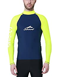 Sbart Men's Rash Guard Long Sleeve Sun Protection Swimwaer Surfing Shirt Top