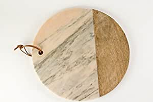 Creative Co-op DA6156 Pink Marble and Mango Wood Cheese Board, Small, Multicolor