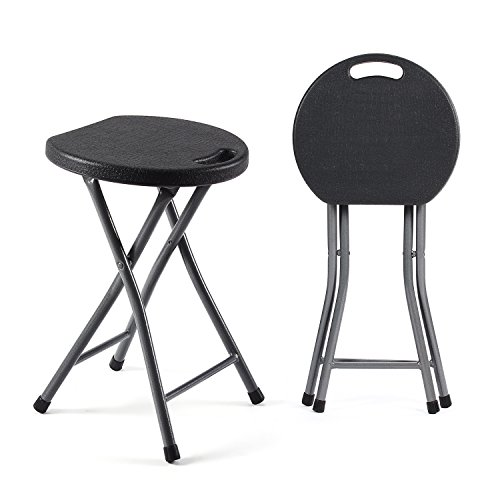 - TAVR Folding Stool Set of Two 18.1 inch Height Light Weight Metal and Plastic Folding Stool 400lb Capacity Indoor/Outdoor Use,2-Pack Black,CH1001
