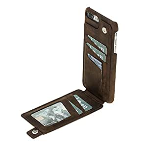 Burkley Genuine Leather Snap-on Case with Attached Bifold Wallet for Apple iPhone 8 PLUS / 7 PLUS   Magnetic Flip Closure with Card Holders   Hand-wrapped in Premium Turkish Leather (Antique Coffee)