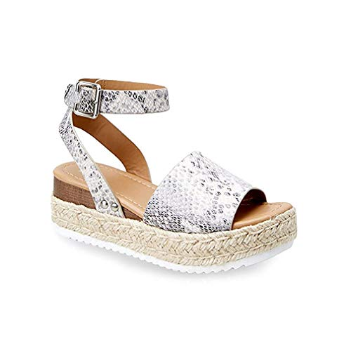 Women Wedge Sandals Casual Espadrilles Platform Sandals Studded Buckle Ankle Strap Open Toe Sandals (Snakeskin pattern,10 M US)