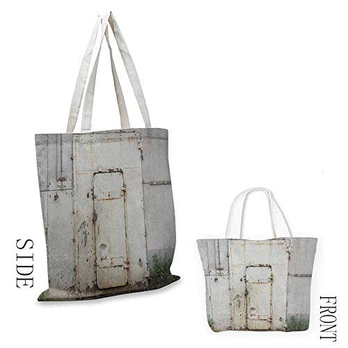Women's canvas tote Industrial Closed Worn Out Rusty Iron Door of an Abandoned Building Factory Picture reusable 16.5