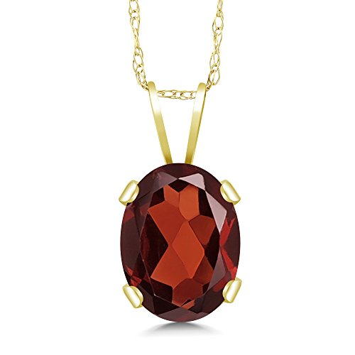 1.40 Ct Oval Red Garnet 14K Yellow Gold Pendant Necklace with 18 Inch 14K Gold Chain (Yellow Gold Garnet Necklace)