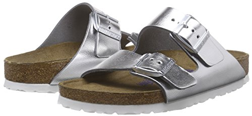 Birkenstock Arizona Narrow Fit - Liquid Silver Leather 1000062 Womens Sandals 37 EU by Birkenstock (Image #5)