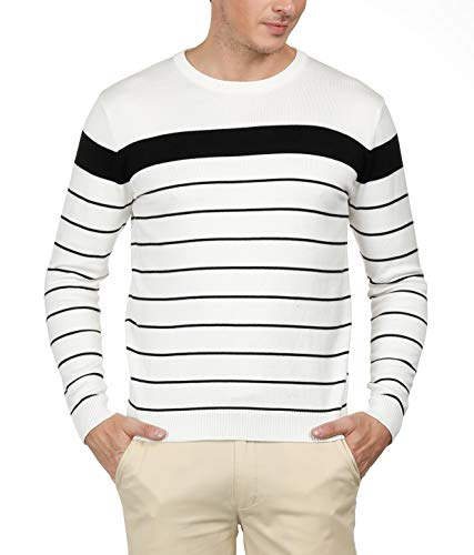 Men's Crewneck Pullover Knit Sweater with Long Sleeve Striped Sweater (S,Ivory)